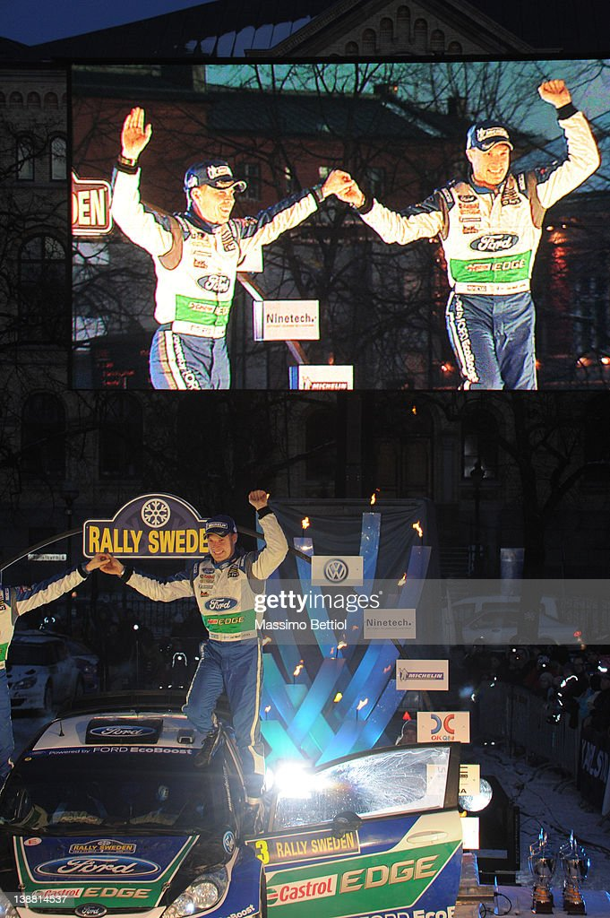 Jari Matti Latvala of Finland and Mikka Anttila of Finland celebrate their victory during Day 3 of the WRC Rally Sweden on February 12, 2012 in Karlstad, Sweden.