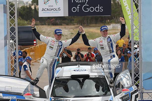 Jari Matti Latvala of Finland and Mikka Anttila of Finland celebrate their victory during Day Two of the WRC Greece on June 02 2013 in Loutraki Greece