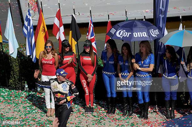 Jari Matti Latvala of Finland and Mikka Anttila of Finland celebrate their victory during Day Three of the WRC Mexico on March 6 2016 in Leon Mexico