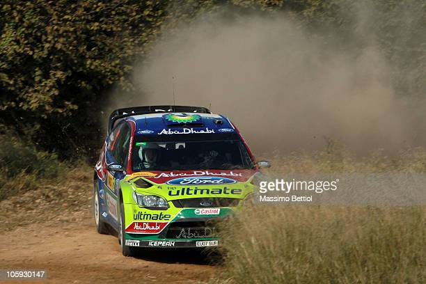 Jari Matti Latvala of Finland and Mikka Anttila of Finland compete in their BP Abu Dhabi Ford Focus during the Shakedown of the WRC Rally of Spain on...