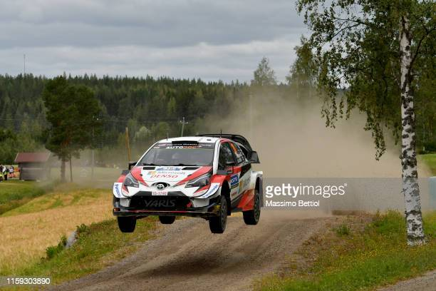 Jari Matti Latvala of Finland and Mikka Anttila of Finland compete in their Toyota Gazoo Racing WRT Toyota Yaris WRC during Day Two of the FIA WRC...