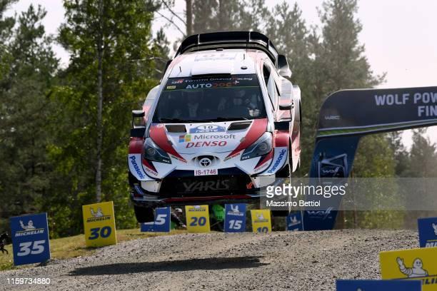 Jari Matti Latvala of Finland and Mikka Anttila of Finland compete in their Toyota Gazoo Racing WRT Toyota Yaris WRC during Day Three of the FIA WRC...