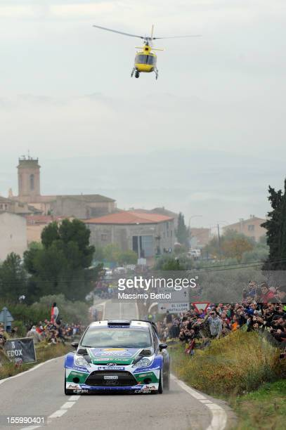 Jari Matti Latvala of Finland and Mikka Anttila of Finland compete in their Ford WRT Ford Fiesta RS WRC during Day Two of the WRC Spain on November...