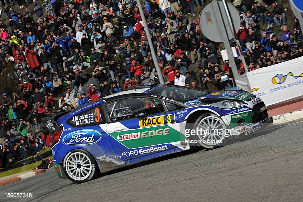 Jari Matti Latvala of Finland and Mikka Anttila of Finland compete in their Ford WRT Ford Fiesta RS WRC during Day Three of the WRC Spain on November...