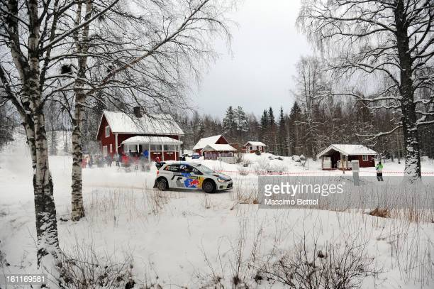 Jari Matti Latvala of Finland and Mikka Anttila of Finland compete in their Volkswagen Motorsport Volkswagen Polo R WRC during Day Two of the WRC...