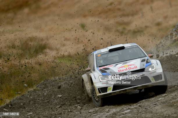 Jari Matti Latvala of Finland and Mikka Anttila of Finland compete in their Volkswagen Motorsport Polo R WRC during Day Two of the WRC Wales Rally GB...