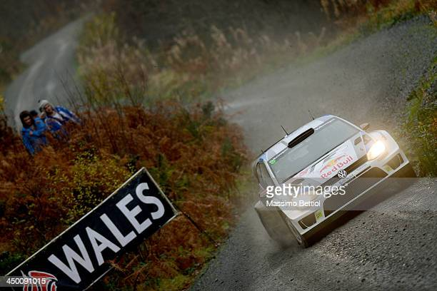 Jari Matti Latvala of Finland and Mikka Anttila of Finland compete in their Volkswagen Motorsport Polo R WRC during Day Three of the WRC Wales Rally...