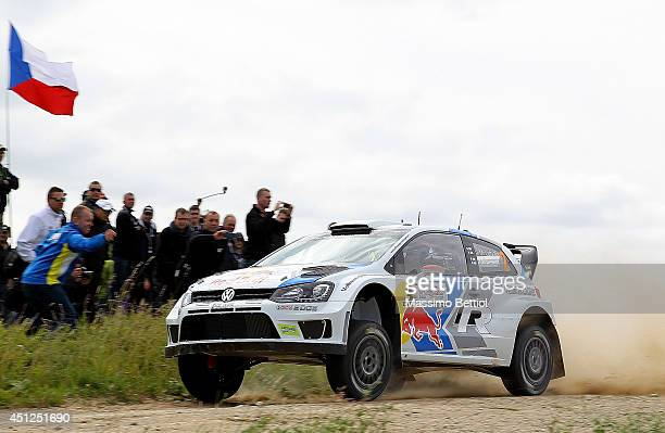 Jari Matti Latvala of Finland and Mikka Anttila of Finland compete in their Volkswagen Motorsport Polo R WRC during the Shakedown of the WRC Poland...