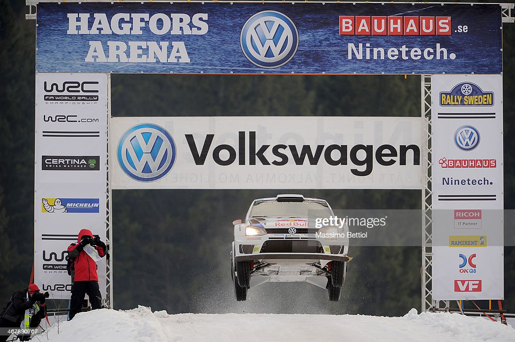 Jari Matti Latvala of Finland and Mikka Anttila of Finland compete in their Volkswagen Motorsport Polo R WRC during Day Three of the WRC Sweden on February 8, 2014 in Karlstad, Sweden.