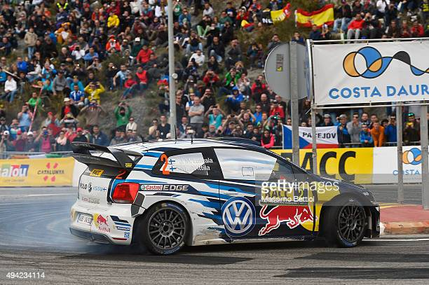 Jari Matti Latvala of Finland and Mikka Anttila of Finland compete in their Volkswagen Motorsport Volkswagen Polo R WRC during Day Three of the WRC...