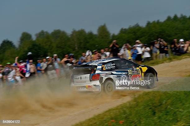 Jari Matti Latvala of Finland and Mikka Anttila of Finland compete in their Volkswagen Motorsport WRT Volkswagen Polo R WRC during the Shakedown of...