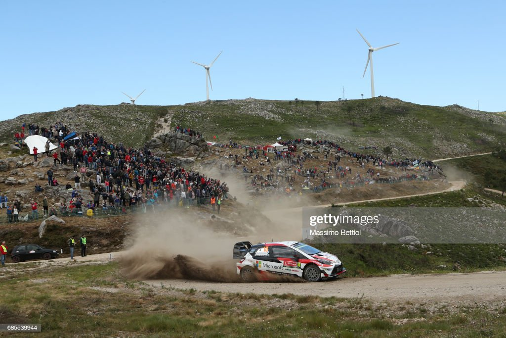 Jari Matti Latvala of Finland and Mikka Anttila of Finland compete in their Toyota Gazoo Racing WRT Toyota Yaris WRC during Day One of the WRC Portugal on May 19, 2017 in Faro, Portugal.