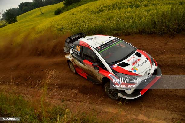 Jari Matti Latvala of Finland and Mikka Anttila of Finland compete in their Toyota Gazoo Racing WRT Toyota Yaris WRC during the Shakedown of the WRC...