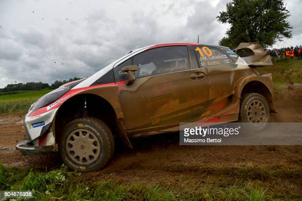 Jari Matti Latvala of Finland and Mikka Anttila of Finland compete in their Toyota Gazoo Racing WRT Toyota Yaris WRC during Day One of the WRC Poland...