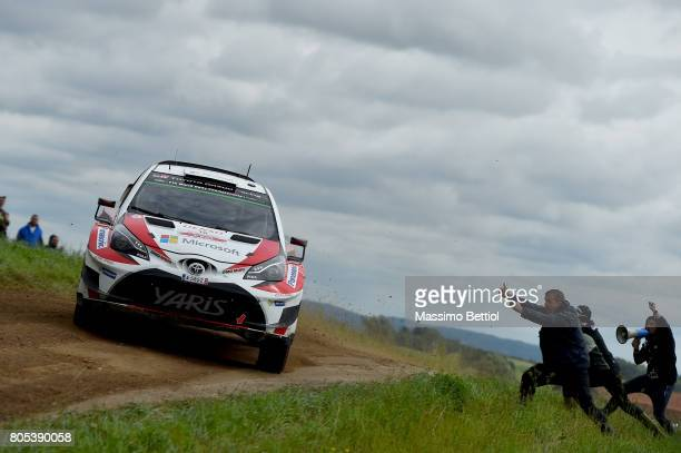 Jari Matti Latvala of Finland and Mikka Anttila of Finland compete in their Toyota Gazoo Racing WRT Toyota Yaris WRC during Day Two of the WRC Poland...