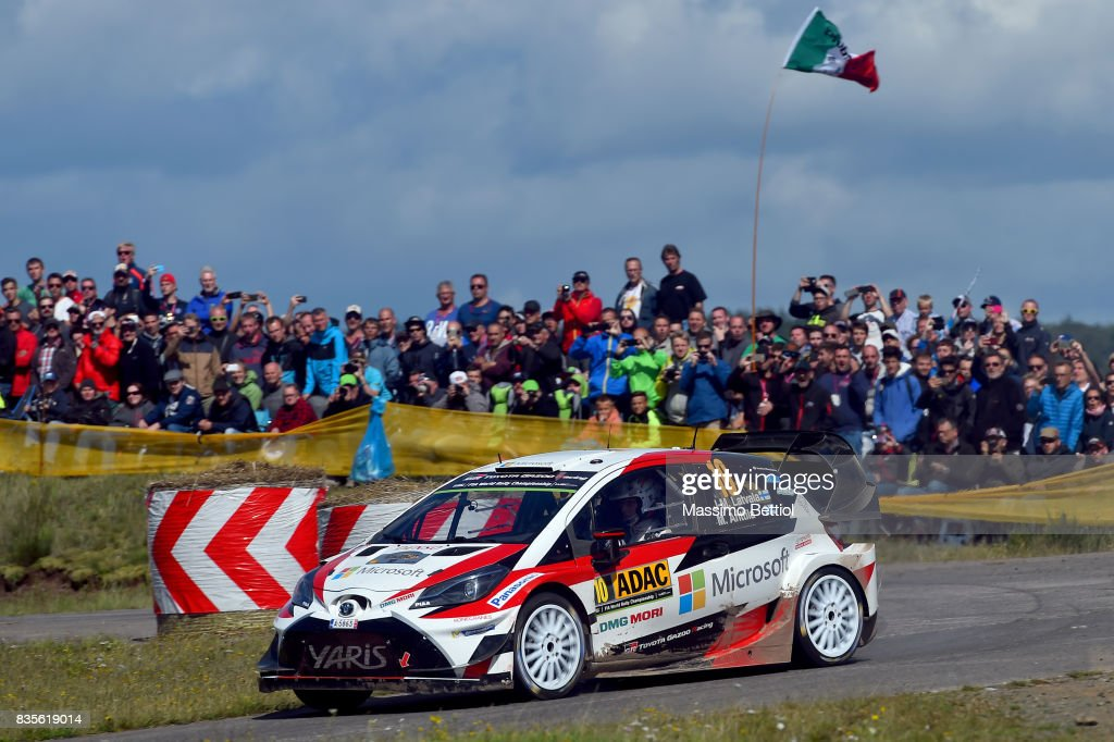 Jari Matti Latvala of Finland and Mikka Anttila of Finland compete in their Toyota Gazoo Racing WRT Toyota Yaris WRC during Day Two of the WRC Germay on August 19, 2017 in Trier, Germany.
