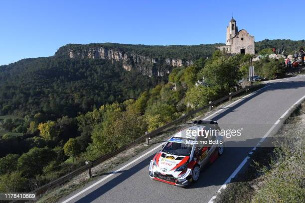 Jari Matti Latvala of Finland and Mikka Anttila of Finland compete with their Toyota Gazoo Racing WRT Toyota Yaris WRC during Day Two of the FIA WRC...