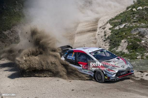 Jari Matti Latvala of Finland and Mikka Anttila of Finland compete with their Toyota Gazoo Racing WRT Toyota Yaris WRC during the SS10 Vieira do...
