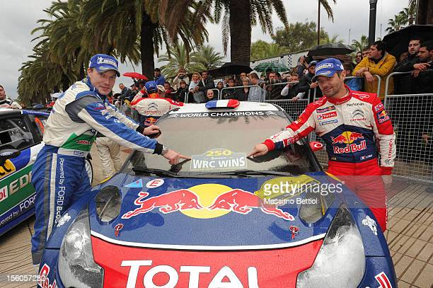 Jari Matti Latvala of Finland and Sebastien Loeb of France in the last service area of Salou during Day Three of the WRC Spain on November 11 2012 in...