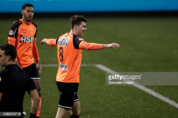 Jari Vlak of FC Volendam celebrates 5-0 during the Dutch Keuken Kampioen Divisie match between FC Volendam v FC Den Bosch at the Kras Stadium on...