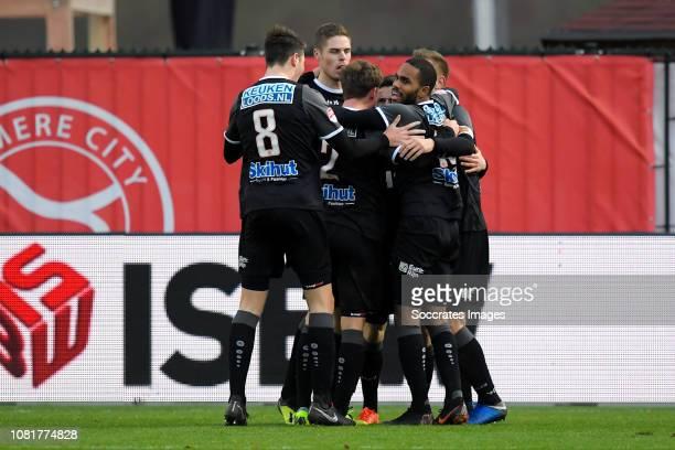 Jari Vlak of FC Volendam Robin Schouten of FC Volendam Nick Doodeman of FC Volendam Boy Deul of FC Volendam Kevin Visser of FC Volendam celebrate 01...