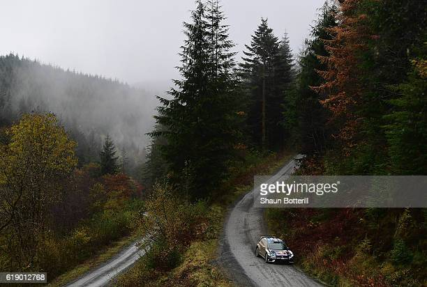 JariMatti Latvala and co driver Mikka Antilla of Finland and Volkswagen Motorsport during the FIA World Rally Championship Great Britain Dyfi stage...