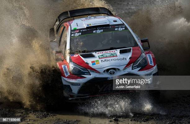 JariMatti Latvala of Finland and Toyota Gazoo Racing drives with codriver Miikka Anttila of Finland during the Sweet Lamb stage of the FIA World...