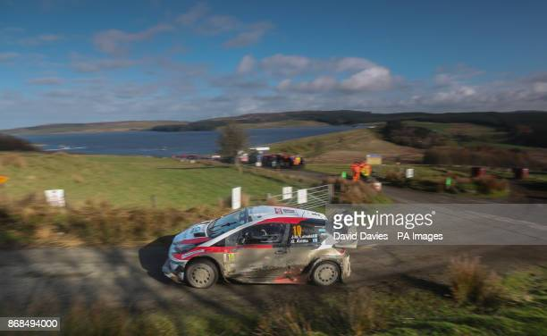 JariMatti Latvala of Finland and Toyota Gazoo Racing drives with codriver Miikka Anttila of Finland during day four of the Dayinsure Wales Rally GB...
