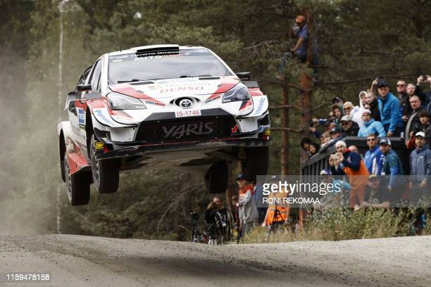 TOPSHOT JariMatti Latvala of Finland competes during the Neste Rally Finland in Jyvaskyla central Finland on August 4 2019 / Finland OUT