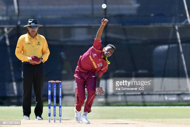 Jarion Hoyte of the West Indies bowls during the ICC U19 Cricket World Cup match between the West Indies and Kenya at Lincoln Oval on January 20 2018...