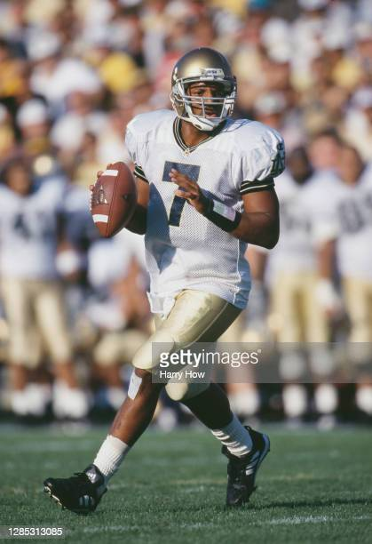 Jarious Jackson, Quarterback for the Notre Dame Fighting Irish in motion during the NCAA Big Ten Conference college football game against the Purdue...