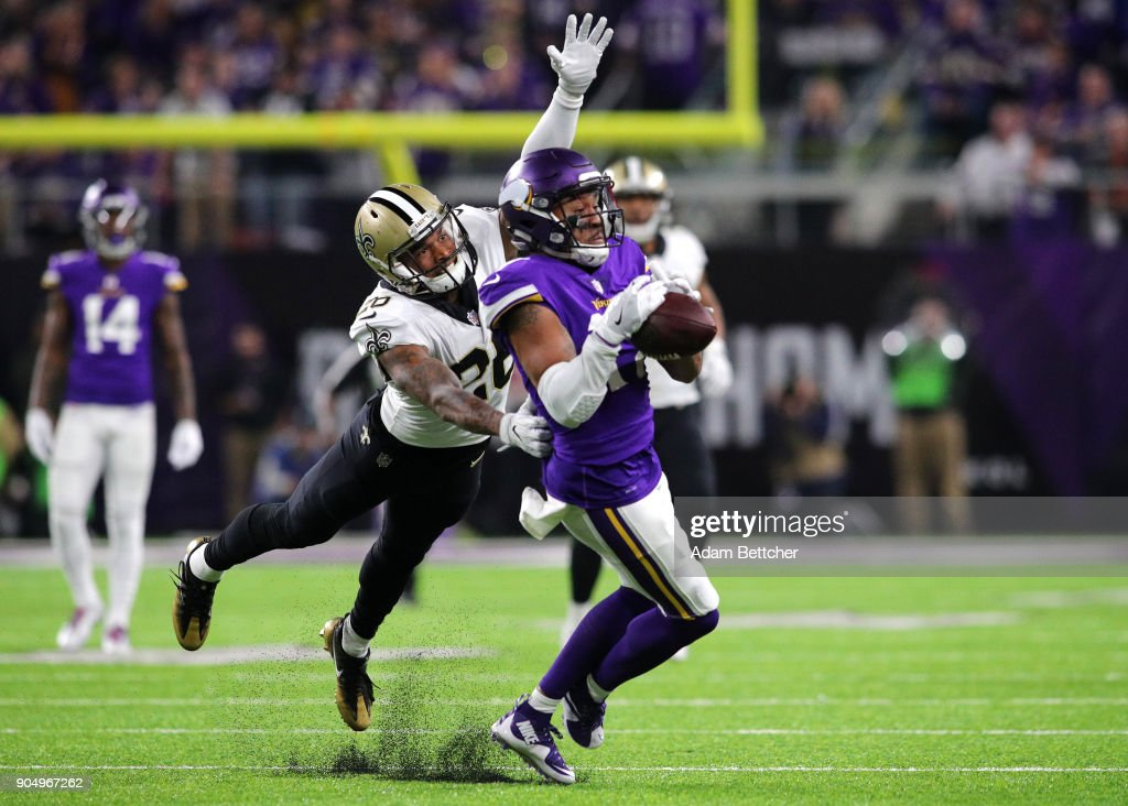 33d198de12 Jarius Wright  17 of the Minnesota Vikings catches the ball over defender  P.J. Williams