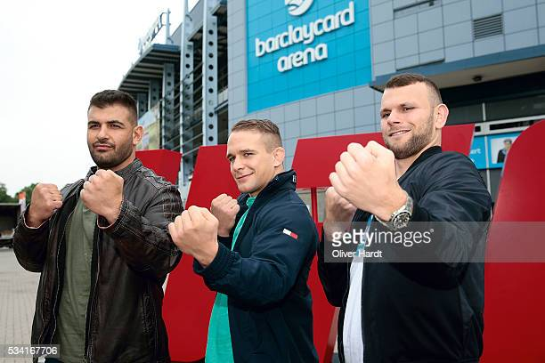 Jarjis Danho Jessin Ayari and Nick Hein poses for the UFC Fight Night in Hamburg at the Barclaycard Arena on September 2016 on May 25 2016 in Hamburg...