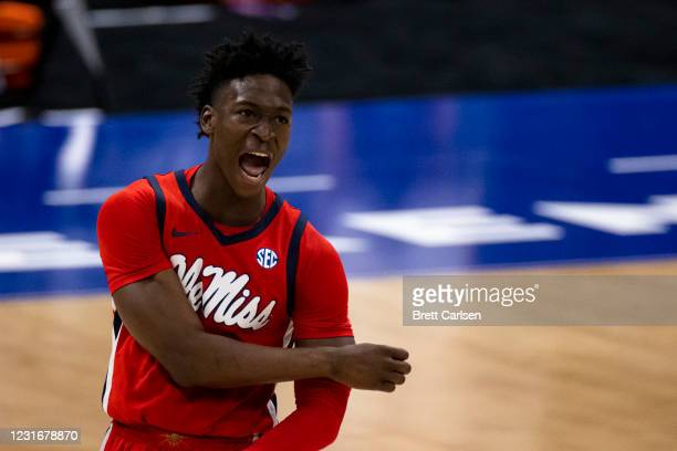 Jarkel Joiner of the Mississippi Rebels celebrates a basket against the LSU Tigers during the second half of their quarterfinal game in the SEC Men's...