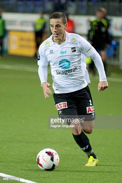 Jarkko Hurme of Odd Grenland in action during the Tippeligaen match between Molde FK and Odd Grenland on November 9 2014 in Molde Norway