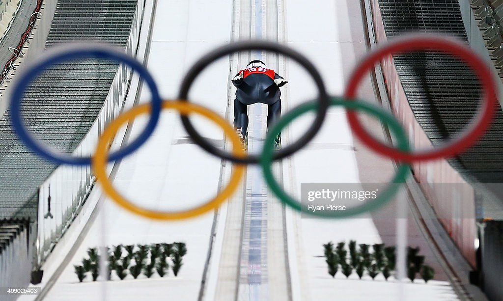 Jarkko Maeaettae of Finland jumps during Men's Large Hill Ski Jumping Official Training at RusSki Ski Jumping Centre on day five of the Sochi 2014 Winter Olympics on February 12, 2014 in Sochi, Russia.