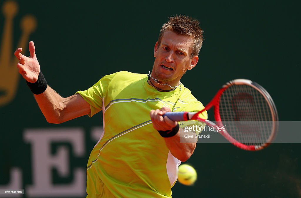 Jarkko Nieminen of Finland plays a forehand against Milos Raonic of Canada in their second round match during day four of the ATP Monte Carlo Masters,at Monte-Carlo Sporting Club on April 17, 2013 in Monte-Carlo, Monaco.