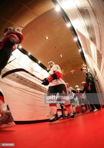 Jarkko Ruutu of the Ottawa Senators walks down the players' tunnel prior to a game against the Florida Panthers at Scotiabank Place on October 22...