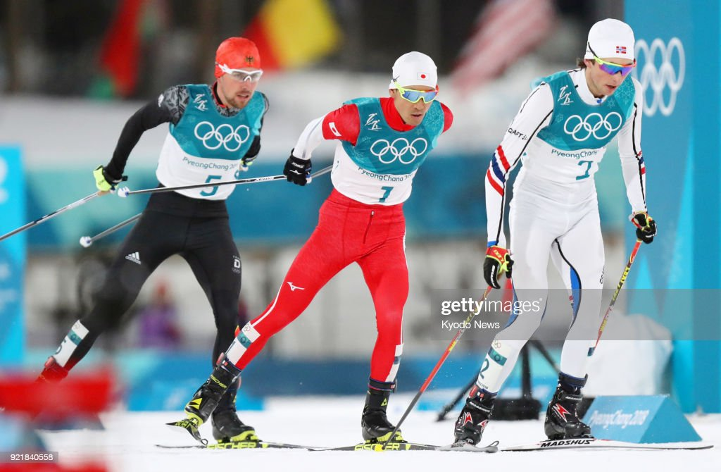 Jarl Magnus Riiber of Norway, Akito Watabe of Japan and Johannes Rydzek of Germany compete in the cross-country portion of the individual large hill 10-kilometer race at the Pyeongchang Winter Olympics in South Korea on Feb. 20, 2018. ==Kyodo