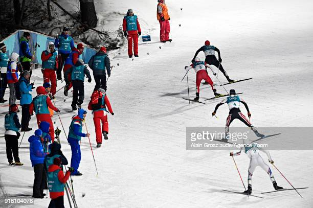 Jarl Magnus Riiber of Norway Akito Watabe of Japan Lukas Klapfer of Austria Eric Frenzel of Germany in action during the Nordic Combined Normal...