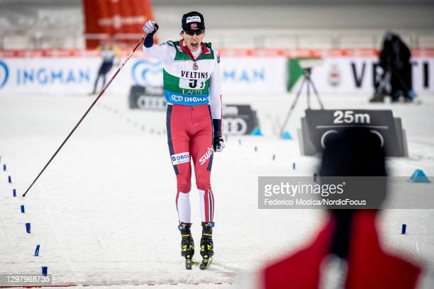 Jarl Magnus Riiber of Norway cheers after winning the Men's Team Sprint HS130/2x7.5 Km at the Viessmann FIS Nordic Combined World Cup Lahti at on...