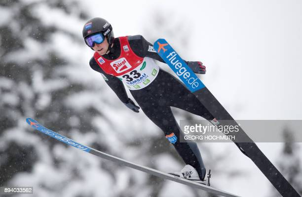 Jarl Magnus Riiber of Norway competes during the FIS Nordic Combined World Cup in Ramsau am Dachstein Austria on December 17 2017 / AFP PHOTO / APA /...