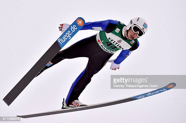 Jarl Magnus Riiber of Norway competes during the FIS Nordic World Cup Men's Nordic Combined HS130/10k on February 19 2016 in Lahti Finland