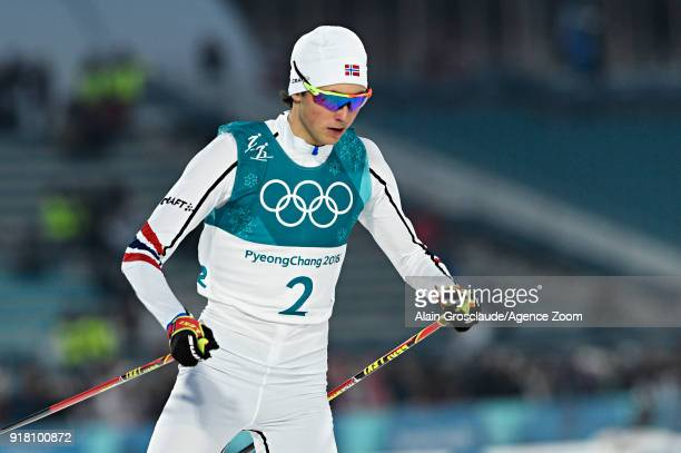 Jarl Magnus Riiber of Norway competes during the Nordic Combined Normal Hill/10km at Alpensia CrossCountry Centre on February 14 2018 in...
