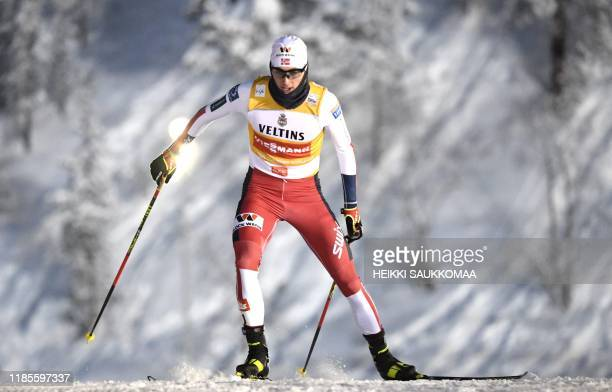 Jarl Magnus Riiber of Norway competes during the Nordic Combined Individual Gundersen competition at the FIS World Cup Ruka Nordic event in Kuusamo,...