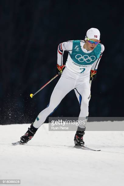 Jarl Magnus Riiber of Norway competes during the Nordic Combined Individual Gundersen Normal Hill and 10km Cross Country on day five of the...