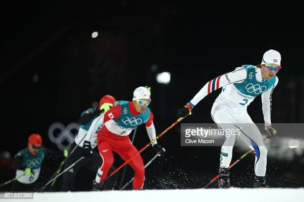Jarl Magnus Riiber of Norway competes during the Nordic Combined Individual Gundersen 10km CrossCountry on day eleven of the PyeongChang 2018 Winter...