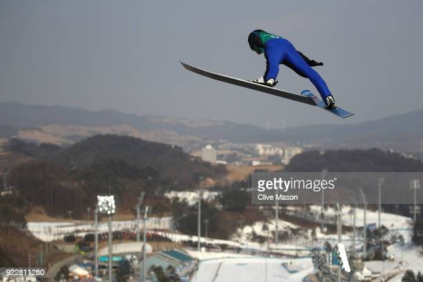 Jarl Magnus Riiber of Norway competes during the Nordic Combined Team Gundersen LH/4x5km Ski Jumping Trial Round on day thirteen of the PyeongChang...