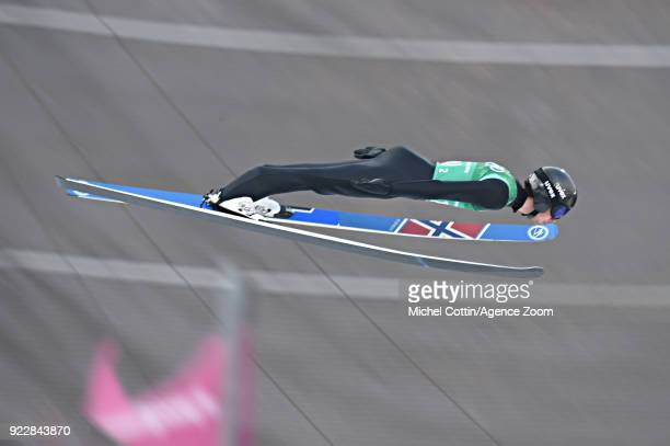 Jarl Magnus Riiber of Norway competes during the Nordic Combined Team event at Alpensia CrossCountry Centre on February 22 2018 in Pyeongchanggun...