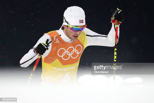 Jarl Magnus Riiber of Norway competes during the Nordic Combined Team Gundersen LH/4x5km CrossCountry on day thirteen of the PyeongChang 2018 Winter...